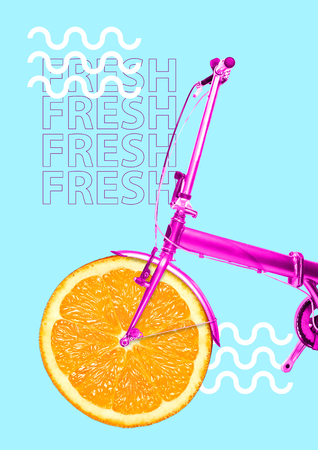 Photo pour Vitamin delivery. Get your dose of juicy colors and freshness. Bike with orange as a wheel and pink base against blue background. Health food concept. Modern design. Contemporary art collage. - image libre de droit