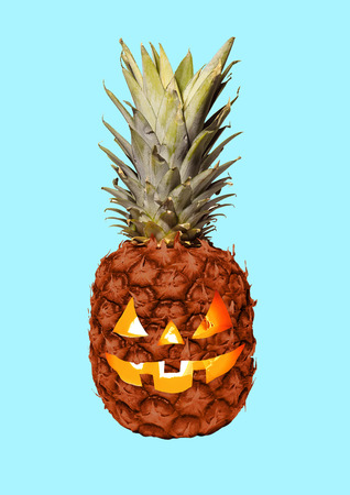 Foto de Lets go on halloween party. An alternative view of celebrating the most terrible autumns holidays. A pineapple as a pumpkin with the candles inside. Modern design. Contemporary art collage. - Imagen libre de derechos