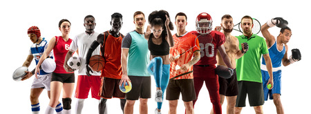 Photo pour Sport collage. Tennis, running, badminton, soccer and american football, basketball, handball, volleyball, boxing, MMA fighter and rugby players. Fit woman and men standing isolated on white background. - image libre de droit
