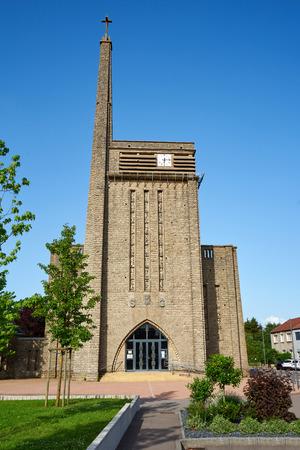 Photo pour Saint-Gorgon Church At Aumetz France Modern Build From The 1950's - image libre de droit