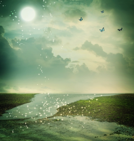 Small butterflies and moon in fantasy landscape