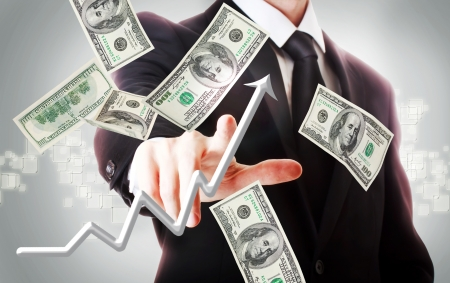 Photo pour Business man with hundred dollar bills and rising arrow  - image libre de droit