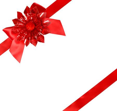 Foto de Red Bow and Ribbon on White Background - Imagen libre de derechos