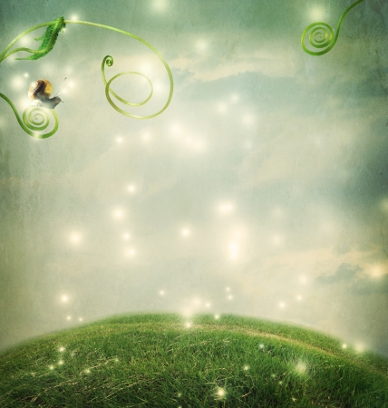Photo pour Fantasy landscape with a small snail and tendrils - image libre de droit