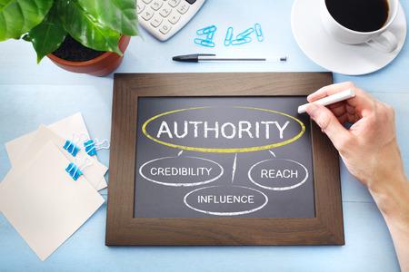 Foto de Authority and its sources mapped out on a blackboard - Imagen libre de derechos