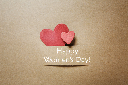Photo pour Hand crafted Womans Day greeting card with little red heats - image libre de droit