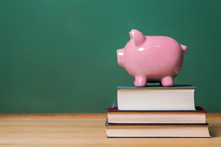 Photo pour Piggy bank on top of books with chalkboard, cost of education theme - image libre de droit