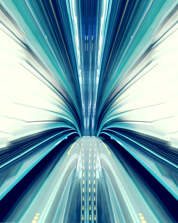 Photo for Abstract high-speed technology concept image from the Yuikamome automated guideway in Tokyo - Royalty Free Image