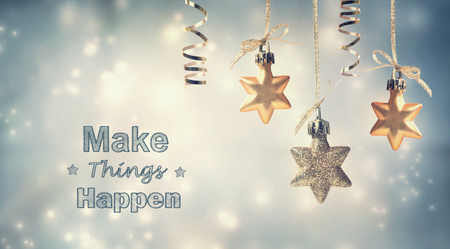 Photo pour Make Things Happen this holiday season with star ornaments - image libre de droit