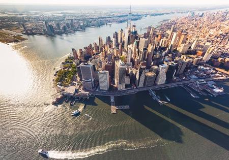 Foto de Aerial view of lower Manhattan New York City and the Hudson River - Imagen libre de derechos