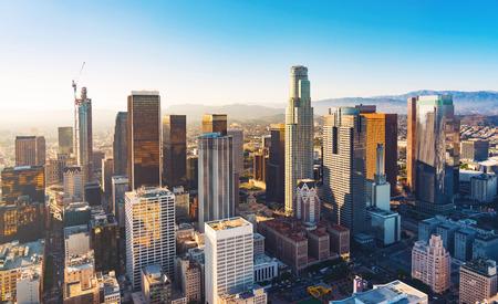 Photo pour Aerial view of a Downtown Los Angeles at sunset - image libre de droit