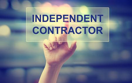 Photo pour Independent Contractor concept with hand pressing a button - image libre de droit