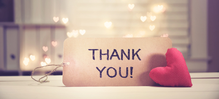 Photo for Thank You message with a red heart with heart shaped lights - Royalty Free Image