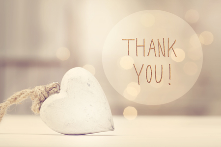 Foto für Thank You message with a white heart  in a room - Lizenzfreies Bild