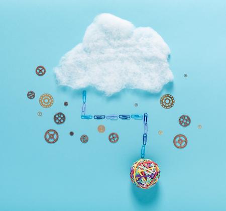 Photo pour Cloud computing concept with big elastic band ball - image libre de droit
