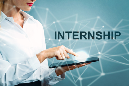 Photo for Internship text with business woman using a tablet - Royalty Free Image