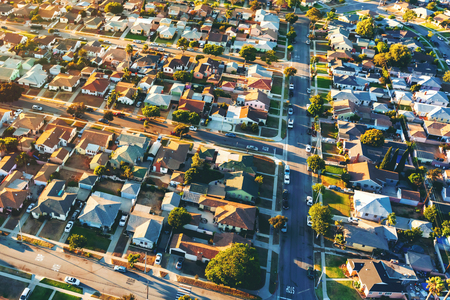 Photo for Aerial view of of a residential neighborhood in Hawthorne, in Los Angeles, CA - Royalty Free Image