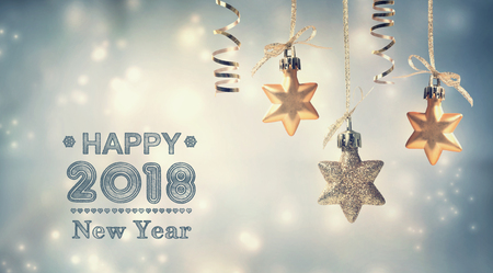 Photo pour Happy New Year 2018 message with hanging star ornaments - image libre de droit