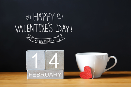 Photo for Valentines Day message with coffee cup with wooden blocks - Royalty Free Image