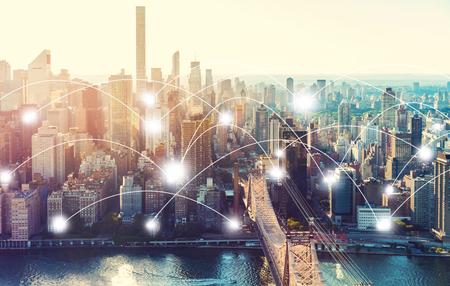 Foto de Network and connection technology concept with the New York City skyline near Midtown - Imagen libre de derechos