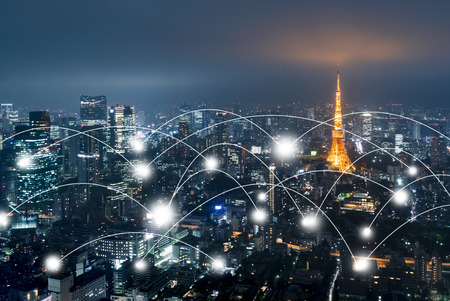 Photo pour Network and connection technology concept with Tokyo Japan - image libre de droit
