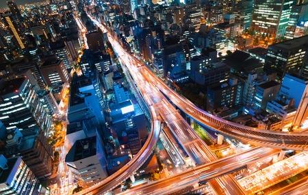 Foto de Aerial view of a massive highway intersection in Osaka, Japan - Imagen libre de derechos