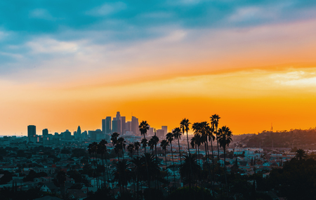 Foto de Downtown Los Angeles skyline at sunset with palm trees in the foreground - Imagen libre de derechos