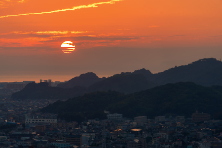 Photo for Sunset behind the Seto Sea in Matsuyama, Japan - Royalty Free Image