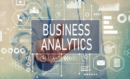 Foto de Business Analytics with businessman pointing digital screen - Imagen libre de derechos