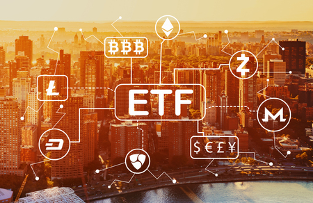 Foto de Cryptocurrency ETF theme with aerial view of Manhattan, NY skyline - Imagen libre de derechos