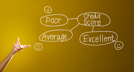 Foto de Credit score theme with a hand in a dark yellow background - Imagen libre de derechos