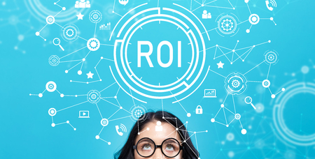 Photo for ROI with young woman on a blue background - Royalty Free Image