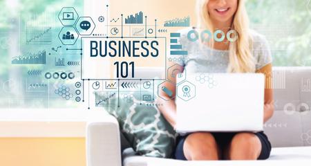 Foto de Business 101 with young woman using a laptop computer - Imagen libre de derechos