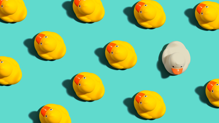 Photo for One out unique rubber duck concept on a blue background - Royalty Free Image