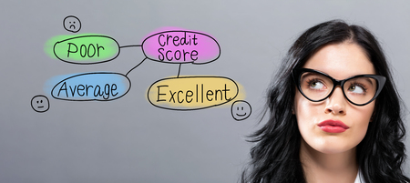 Foto de Credit score theme with young businesswoman in a thoughtful face - Imagen libre de derechos