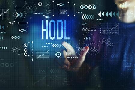 Foto per Hodl with young man on a dark background - Immagine Royalty Free