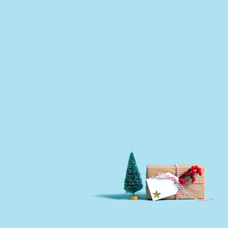 Photo for Christmas gift box on a blue background - Royalty Free Image