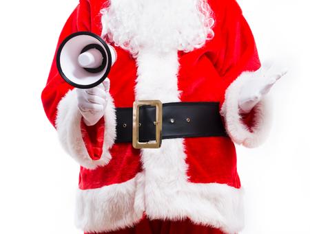 Photo pour Santa holding a megaphone isolated on white background - image libre de droit