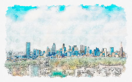 Photo for View of the Shinjuku skyline from Shibuya, Tokyo, Japan watercolor painting - Royalty Free Image