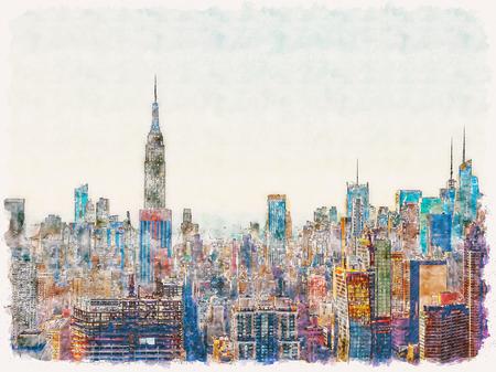 Foto de Aerial view of the New York City skyline near Midtown watercolor painting - Imagen libre de derechos