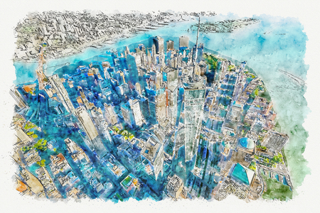 Photo pour Aerial view of the Freedom Tower at One World Trade Center, Manhattan, New York watercolor painting - image libre de droit