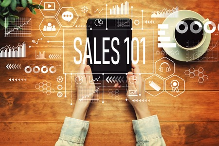 Photo for Sales 101 with a person holding a tablet computer - Royalty Free Image