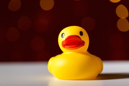 Photo for Rubber duck toy on a shiny light dark red background - Royalty Free Image