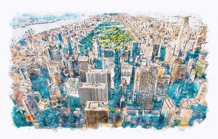 Foto de Aerial view of Midtown Manhattan, NY and Central Park watercolor painting - Imagen libre de derechos