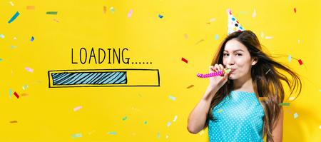 Photo pour Loading concept with young woman with party theme on a yellow background - image libre de droit