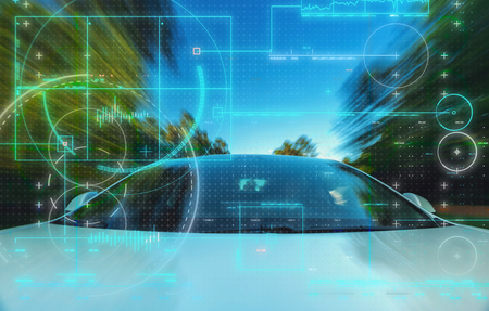 Photo for Self-driving autonomous electric driverless car technology theme - Royalty Free Image