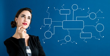 Foto de Flowchart with business woman in a thoughtful face - Imagen libre de derechos