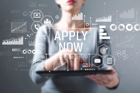 Photo for Apply now with business woman using a tablet computer - Royalty Free Image