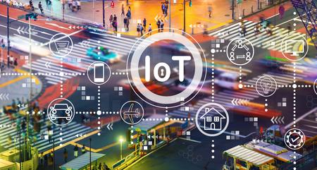 Foto de IoT theme with busy city traffic intersection - Imagen libre de derechos