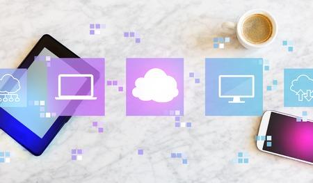 Foto de Cloud computing with a tablet computer and smart phone - Imagen libre de derechos